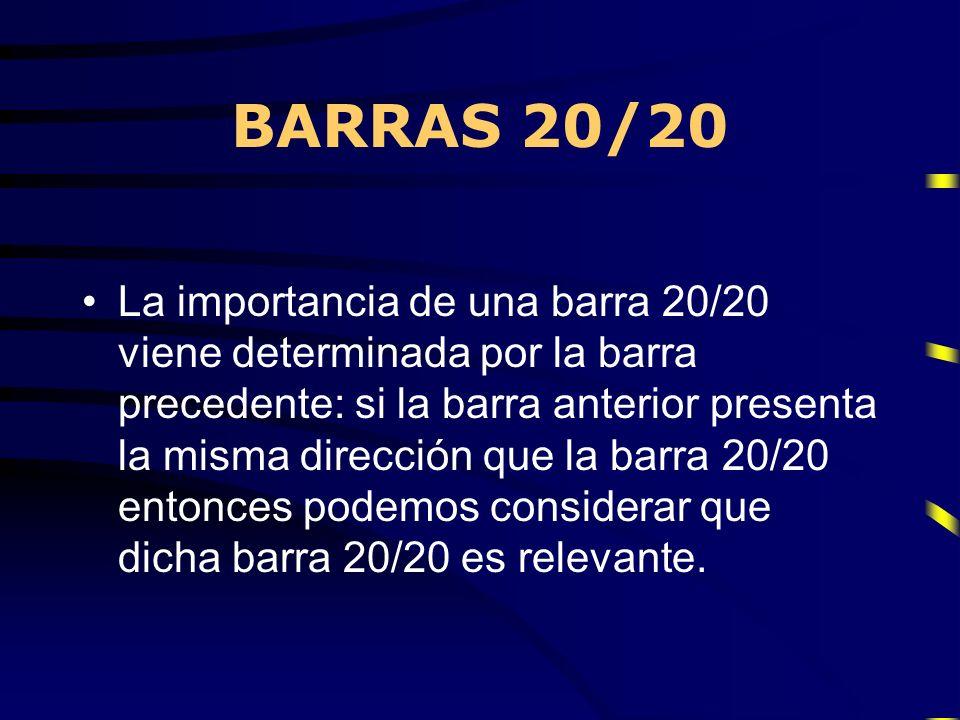 BARRAS 20/20 La importancia de una barra 20/20 viene determinada por la barra precedente: si la barra anterior presenta la misma dirección que la barr