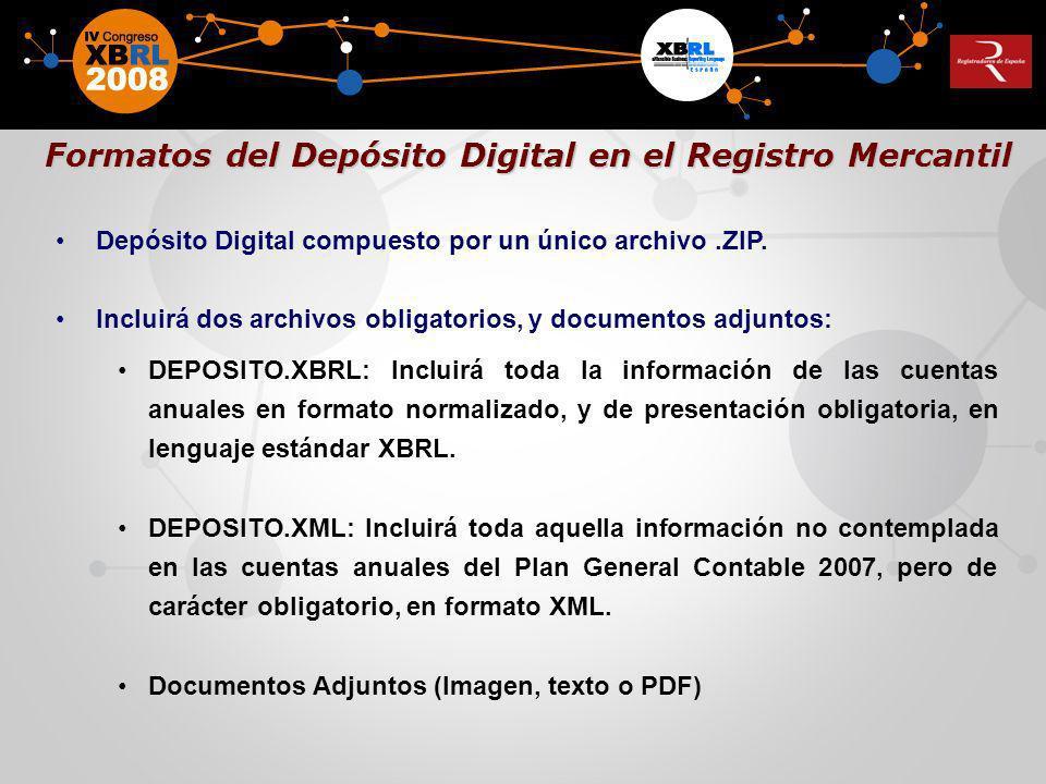 Depósito Digital compuesto por un único archivo.ZIP. Incluirá dos archivos obligatorios, y documentos adjuntos: DEPOSITO.XBRL: Incluirá toda la inform