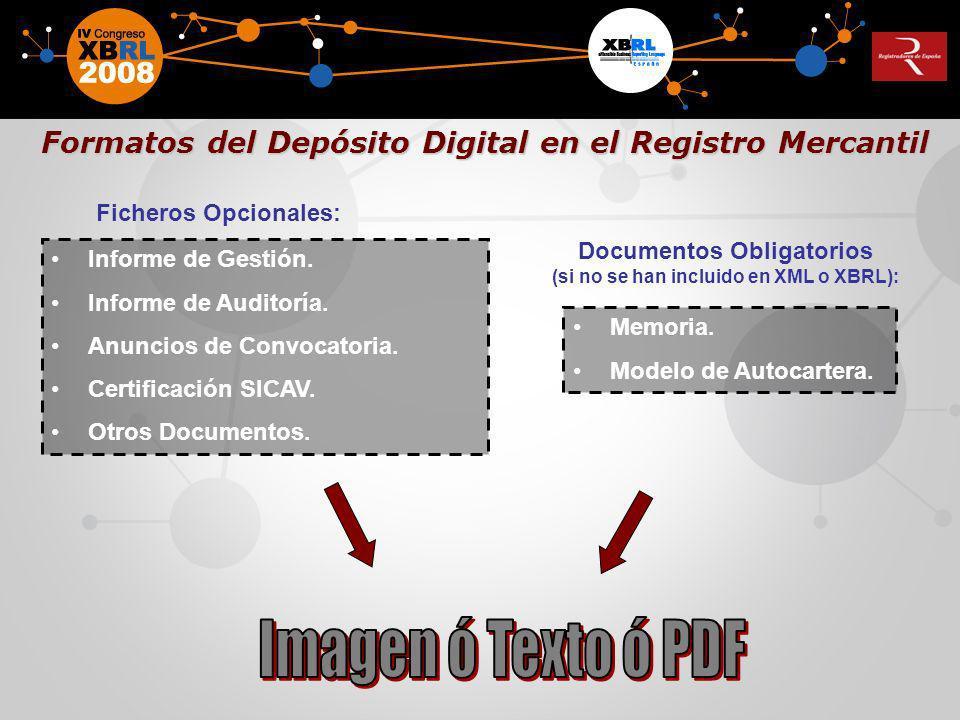 Formatos del Depósito Digital en el Registro Mercantil Formatos del Depósito Digital en el Registro Mercantil Informe de Gestión. Informe de Auditoría