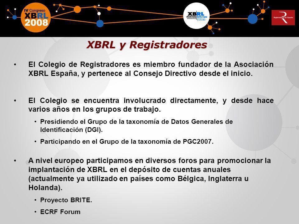 El Colegio de Registradores es miembro fundador de la Asociación XBRL España, y pertenece al Consejo Directivo desde el inicio. El Colegio se encuentr