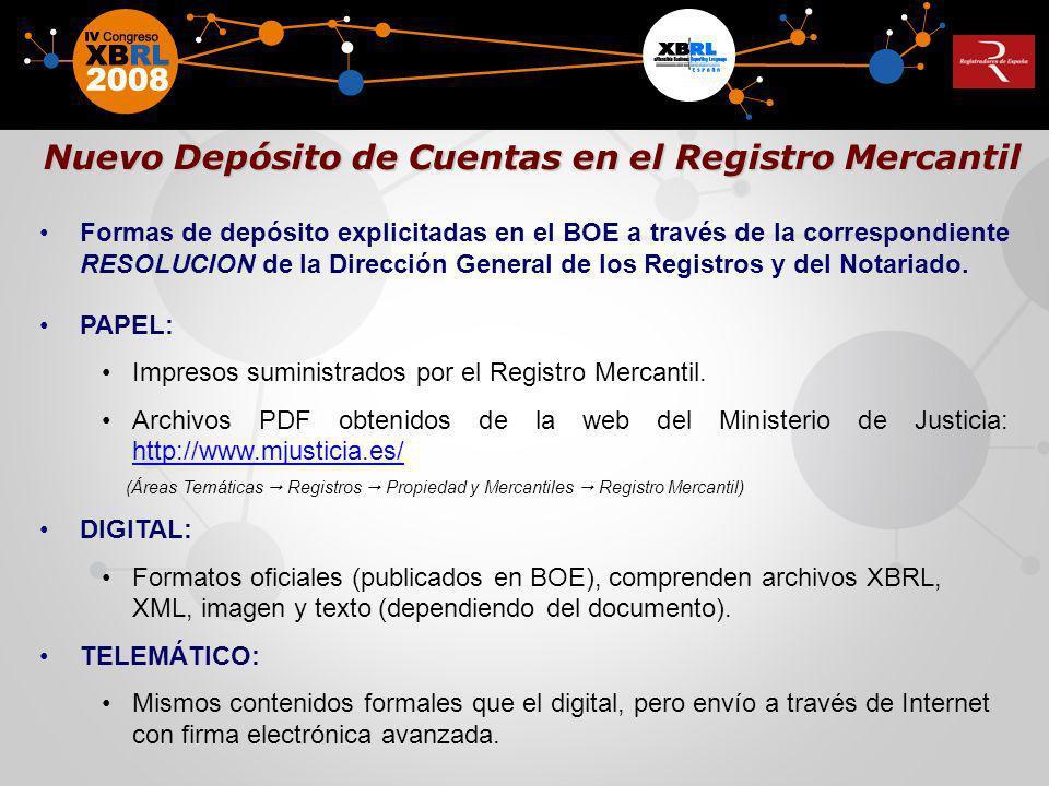Formas de depósito explicitadas en el BOE a través de la correspondiente RESOLUCION de la Dirección General de los Registros y del Notariado. PAPEL: I