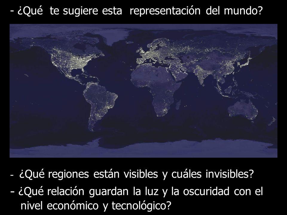 - ¿Qué te sugiere esta representación del mundo? - ¿Qué regiones están visibles y cuáles invisibles? La - ¿Qué relación guardan la luz y la oscuridad