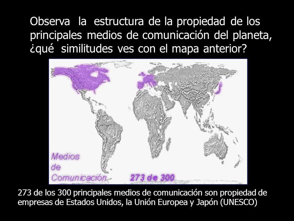 Observa la estructura de la propiedad de los principales medios de comunicación del planeta, ¿qué similitudes ves con el mapa anterior? 273 de los 300
