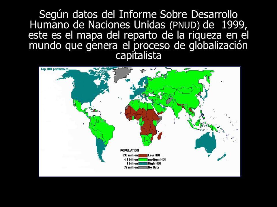 Según datos del Informe Sobre Desarrollo Humano de Naciones Unidas (PNUD) de 1999, este es el mapa del reparto de la riqueza en el mundo que genera el