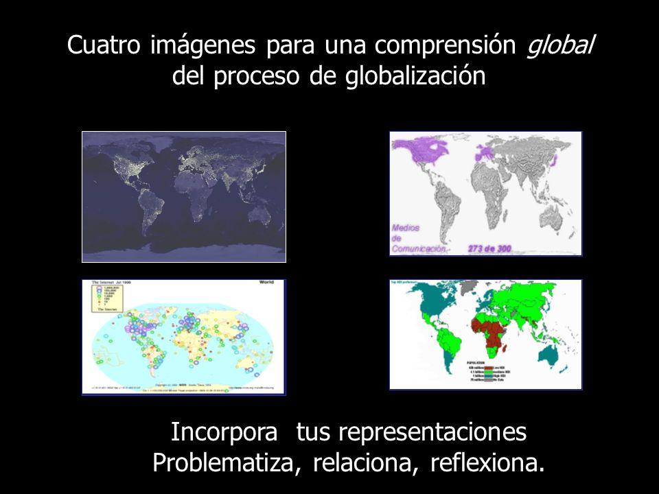 Cuatro imágenes para una comprensión global del proceso de globalización Incorpora tus representaciones Problematiza, relaciona, reflexiona.