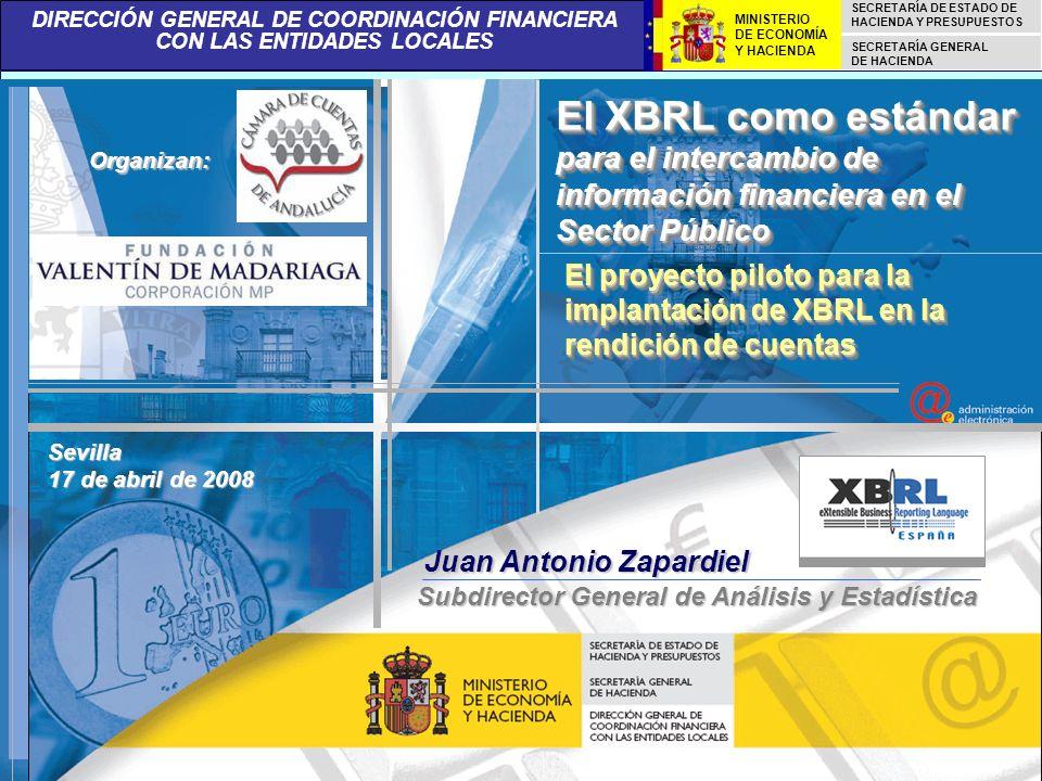 DIRECCIÓN GENERAL DE COORDINACIÓN FINANCIERA CON LAS ENTIDADES LOCALES SECRETARÍA DE ESTADO DE HACIENDA Y PRESUPUESTOS SECRETARÍA GENERAL DE HACIENDA MINISTERIO DE ECONOMÍA Y HACIENDA BENEFICIOS DERIVADOS DEL USO DE XBRL POR LAS ENTIDADES LOCALES 21 ALGUNAS DE LAS VENTAJAS DE UTILIZAR LA TAXONOMÍA LENLOC: PERMITE OBTENER LA INFORMACIÓN DE LA LIQUIDACIÓN DEL PRESUPUESTO DE UN MODO RÁPIDO, VIA INTERNET, GARANTIZANDO LA CONSISTENCIA Y SEGURIDAD DE LOS DATOS XBRL MEJORA LA TRANSPARENCIA DEL PROCESO, ASÍ COMO EL ANÁLISIS Y CONTROL DE LOS DATOS PRESUPUESTARIOS DE LAS CORPORACIONES LOCALES ESTE PROYECTO PUEDE SER TOMADO COMO MODELO PARA SU EXTENSIÓN A OTROS ÁMBITOS DEL SECTOR PÚBLICO PERMITE A LOS USUARIOS CONSULTAR INFORMACIÓN DESAGREGADA Y VALIDADA DESDE SU FUENTE ORIGINAL REDUCE LOS COSTES ADMINISTRATIVOS