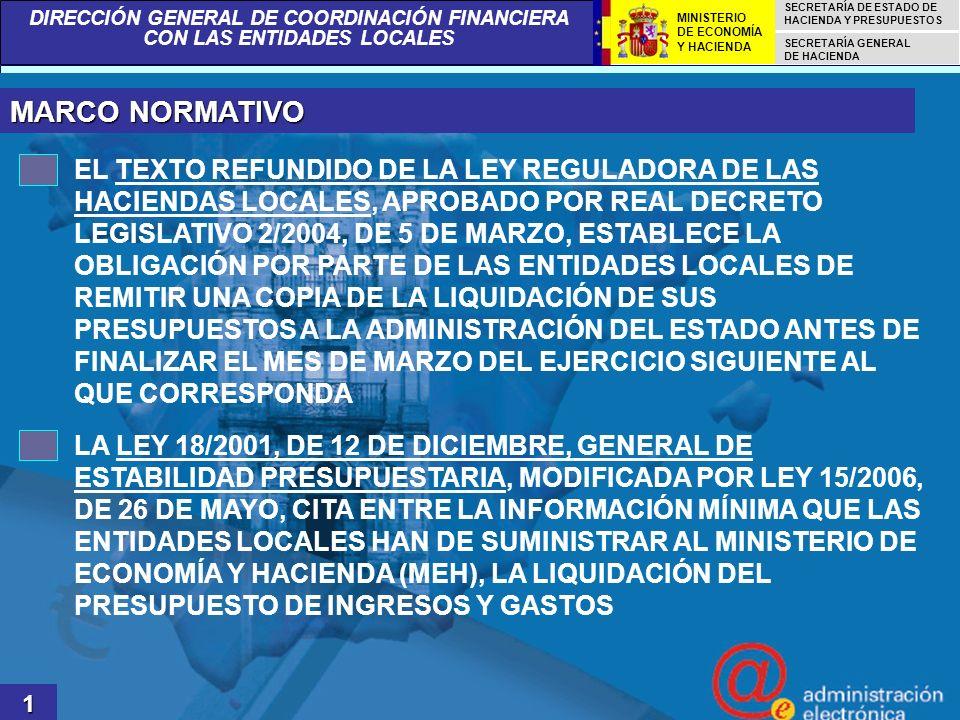 DIRECCIÓN GENERAL DE COORDINACIÓN FINANCIERA CON LAS ENTIDADES LOCALES SECRETARÍA DE ESTADO DE HACIENDA Y PRESUPUESTOS SECRETARÍA GENERAL DE HACIENDA MINISTERIO DE ECONOMÍA Y HACIENDA 12 OBJETIVOS GENERALES DEL PROYECTO SENTAR LAS BASES JURÍDICAS Y TECNOLÓGICAS PARA LA CREACIÓN DE UN PROCEDIMIENTO TELEMÁTICO QUE PERMITA AL INTERVENTOR LOCAL TRANSMITIR LOS DATOS DE LA LIQUIDACIÓN DEL PRESUPUESTO DE SU ENTIDAD A LA ADMINISTRACIÓN DEL ESTADO SUPERAR LAS DIFICULTADES TÉCNICAS DERIVADAS DE LA HETEROGENEIDAD DE SISTEMAS INFORMÁTICO-CONTABLES EXISTENTES EN LAS MÁS DE 8.000 ENTIDADES LOCALES REDUCIR LOS PLAZOS DE GENERACIÓN Y PUBLICACIÓN DE LAS CIFRAS DEFINITIVAS DE LA LIQUIDACIÓN DE LOS PRESUPUESTOS DE LAS ENTIDADES LOCALES, MEDIANTE LA IMPLANTACIÓN DE MEJORAS TECNOLÓGICAS EN LA CAPTURA DE DATOS, CON LA CONSIGUIENTE MEJORA EN ASPECTOS RELACIONADOS CON LA TRANSPARENCIA INFORMATIVA