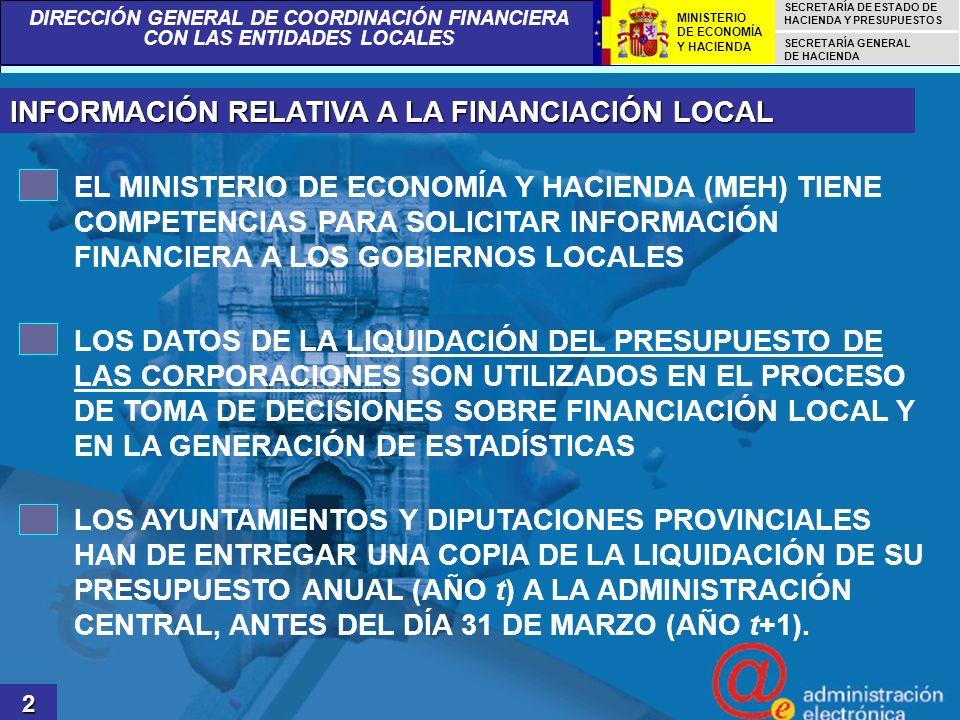DIRECCIÓN GENERAL DE COORDINACIÓN FINANCIERA CON LAS ENTIDADES LOCALES SECRETARÍA DE ESTADO DE HACIENDA Y PRESUPUESTOS SECRETARÍA GENERAL DE HACIENDA MINISTERIO DE ECONOMÍA Y HACIENDA REMISIÓN DE LA LIQUIDACIÓN PRESUPUESTARIA 3 LAS UNIDADES POTENCIALES QUE DEBEN ENVIAR LA LIQUIDACIÓN DE SU PRESUPUESTO LOCAL AL MEH SON: 8.111 AYUNTAMIENTOS 1.615 ORGANISMOS AUTÓNOMOS DEPENDIENTES DE LOS AYUNTAMIENTOS 51 DIPUTACIONES PROVINCIALES 160 ORGANISMOS AUTÓNOMOS DEPENDIENTES DE LAS DIPUTACIONES PROVINCIALES