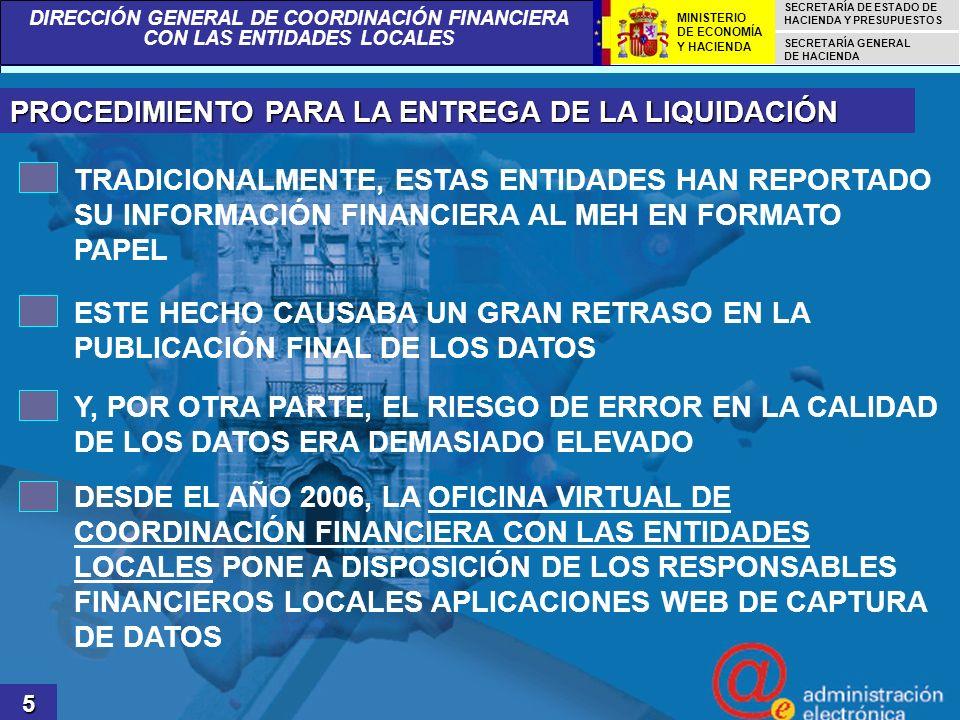DIRECCIÓN GENERAL DE COORDINACIÓN FINANCIERA CON LAS ENTIDADES LOCALES SECRETARÍA DE ESTADO DE HACIENDA Y PRESUPUESTOS SECRETARÍA GENERAL DE HACIENDA MINISTERIO DE ECONOMÍA Y HACIENDA LA OFICINA VIRTUAL DE COORDINACIÓN FINANCIERA CON LAS ENTIDADES LOCALES 6
