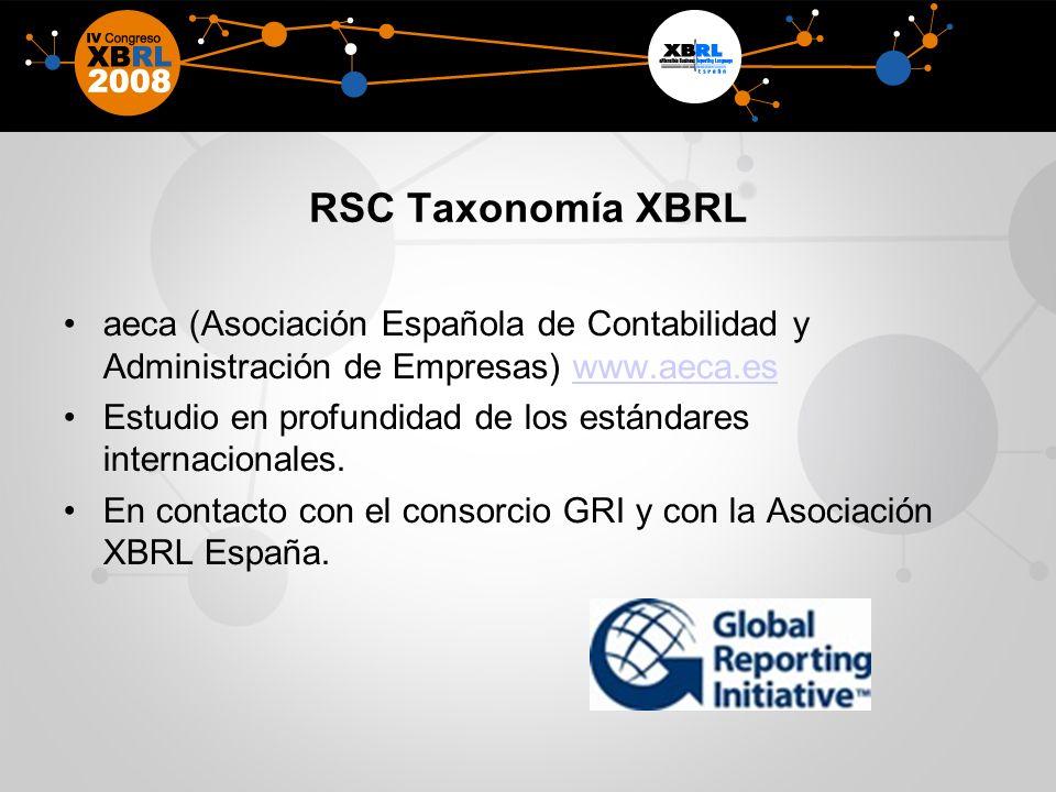 RSC Taxonomía XBRL aeca (Asociación Española de Contabilidad y Administración de Empresas) www.aeca.eswww.aeca.es Estudio en profundidad de los estándares internacionales.