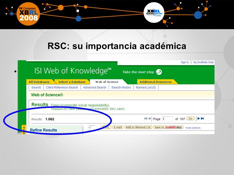 RSC: su importancia académica Muchas citas académicas en la base de datos del ISI.