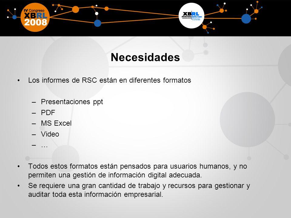 Necesidades Los informes de RSC están en diferentes formatos –Presentaciones ppt –PDF –MS Excel –Video –… Todos estos formatos están pensados para usuarios humanos, y no permiten una gestión de información digital adecuada.