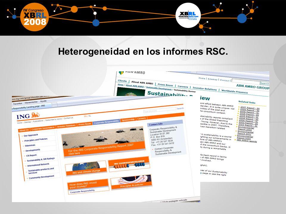 Heterogeneidad en los informes RSC.