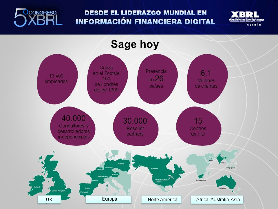 Sage hoy Africa, Australia, Asia Norte América Europa UK 13.400 empleados Cotiza en el Footsie 100 de Londres desde 1999 Presencia en 26 países 6,1 Millones de clientes 40.000 Consultores y desarrolladores independientes 30.000 Reseller partners 15 Centros de I+D