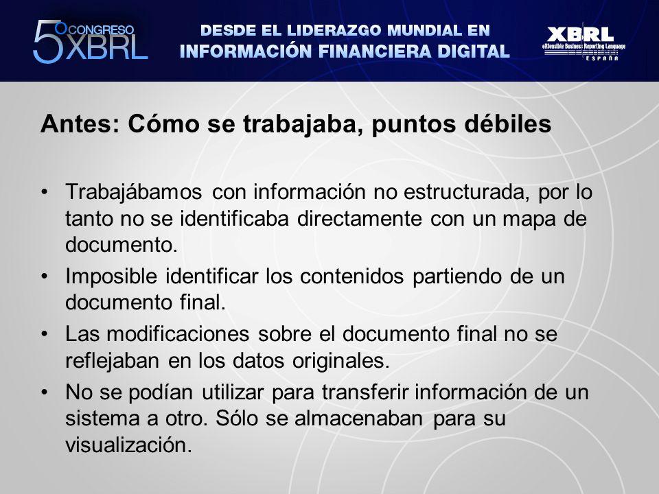 Antes: Cómo se trabajaba, puntos débiles Trabajábamos con información no estructurada, por lo tanto no se identificaba directamente con un mapa de documento.