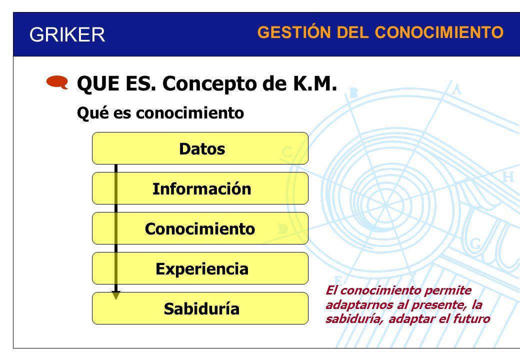 GRIKER GESTIÓN DEL CONOCIMIENTO Qué es conocimiento QUE ES. Concepto de K.M. Información Datos Conocimiento Experiencia Sabiduría El conocimiento perm