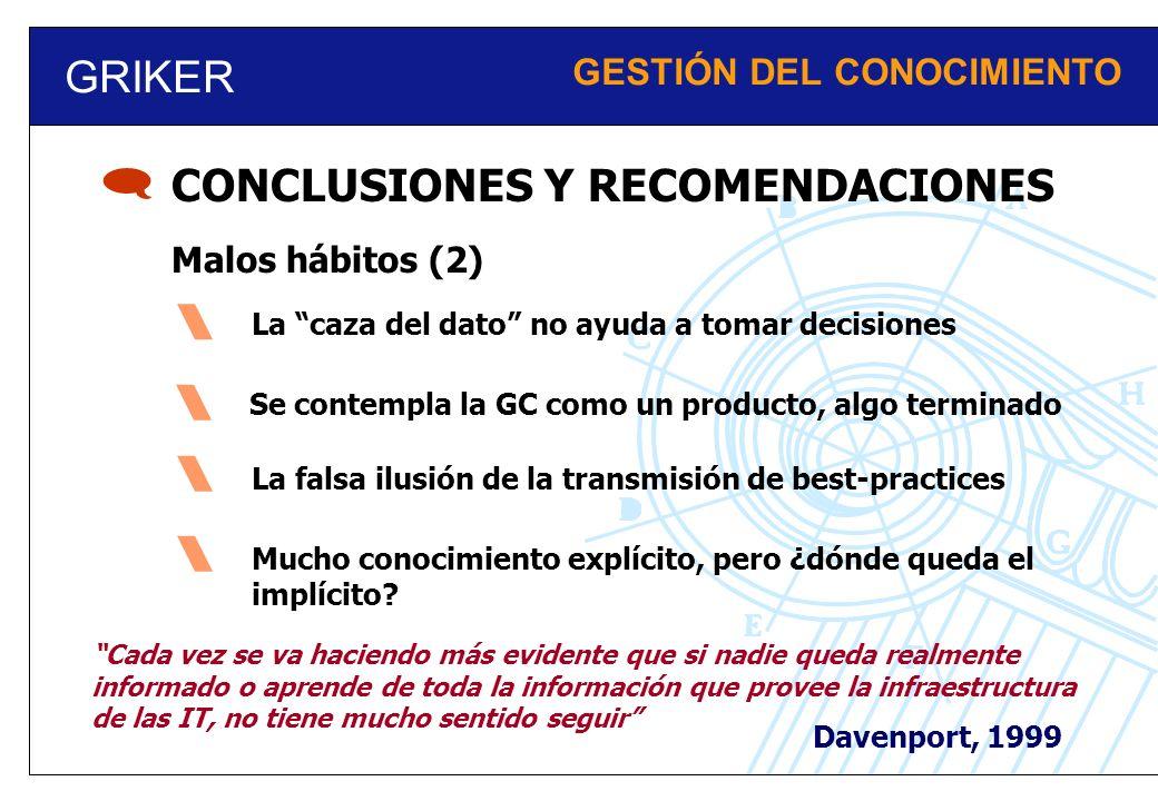 GRIKER GESTIÓN DEL CONOCIMIENTO Malos hábitos (2) CONCLUSIONES Y RECOMENDACIONES Se contempla la GC como un producto, algo terminado La falsa ilusión