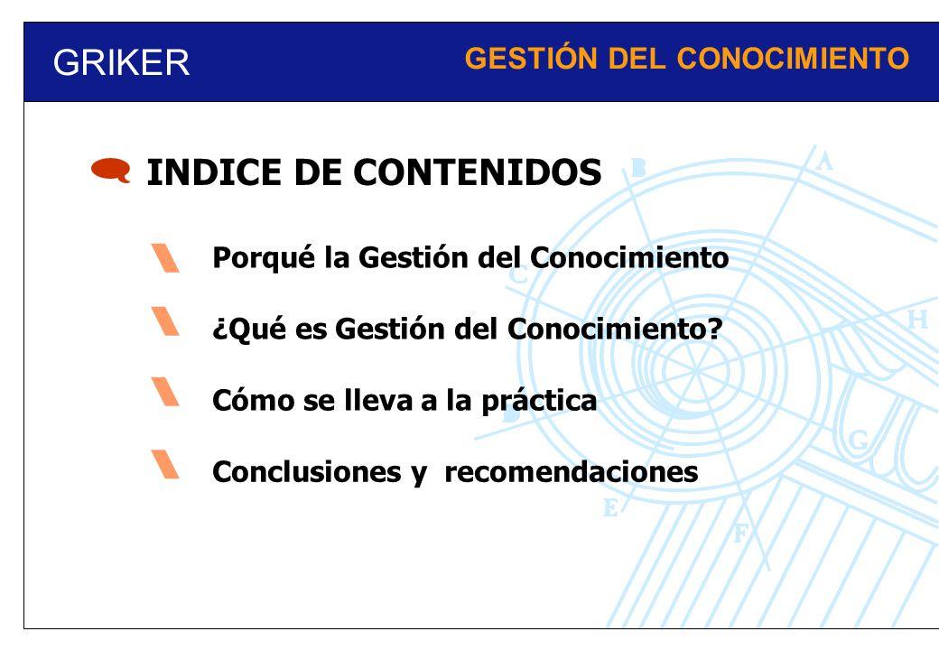 GRIKER GESTIÓN DEL CONOCIMIENTO INDICE DE CONTENIDOS Porqué la Gestión del Conocimiento ¿Qué es Gestión del Conocimiento? Cómo se lleva a la práctica