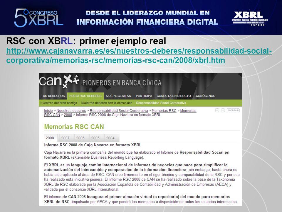RSC con XBRL: primer ejemplo real http://www.cajanavarra.es/es/nuestros-deberes/responsabilidad-social- corporativa/memorias-rsc/memorias-rsc-can/2008/xbrl.htm http://www.cajanavarra.es/es/nuestros-deberes/responsabilidad-social- corporativa/memorias-rsc/memorias-rsc-can/2008/xbrl.htm