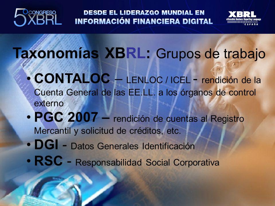 Taxonomías XBRL: Grupos de trabajo CONTALOC – LENLOC / ICEL - rendición de la Cuenta General de las EE.LL.