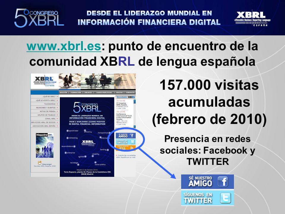 www.xbrl.eswww.xbrl.es: punto de encuentro de la comunidad XBRL de lengua española 157.000 visitas acumuladas (febrero de 2010) Presencia en redes sociales: Facebook y TWITTER