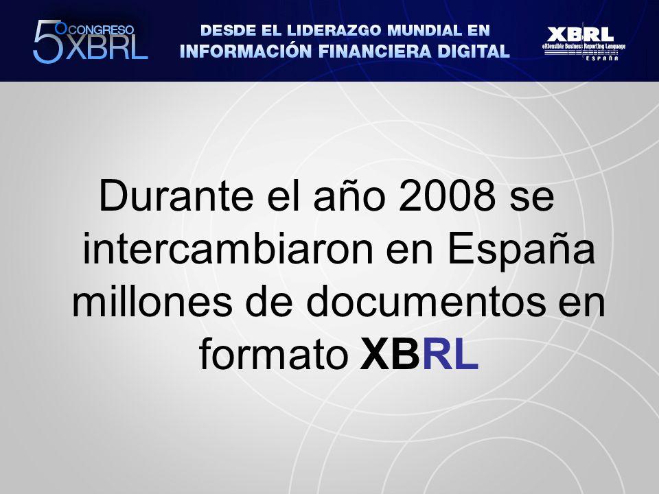 Durante el año 2008 se intercambiaron en España millones de documentos en formato XBRL