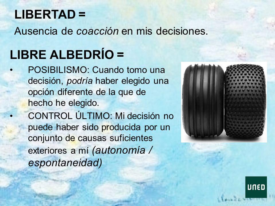LIBRE ALBEDRÍO = POSIBILISMO: Cuando tomo una decisión, podría haber elegido una opción diferente de la que de hecho he elegido. CONTROL ÚLTIMO: Mi de