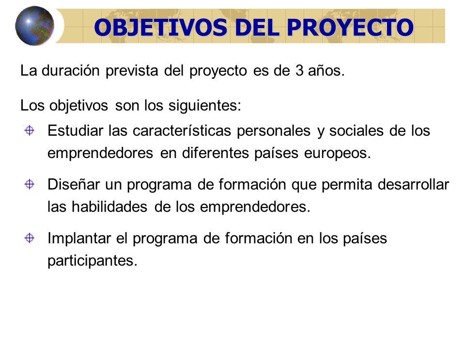 OBJETIVOS DEL PROYECTO La duración prevista del proyecto es de 3 años.