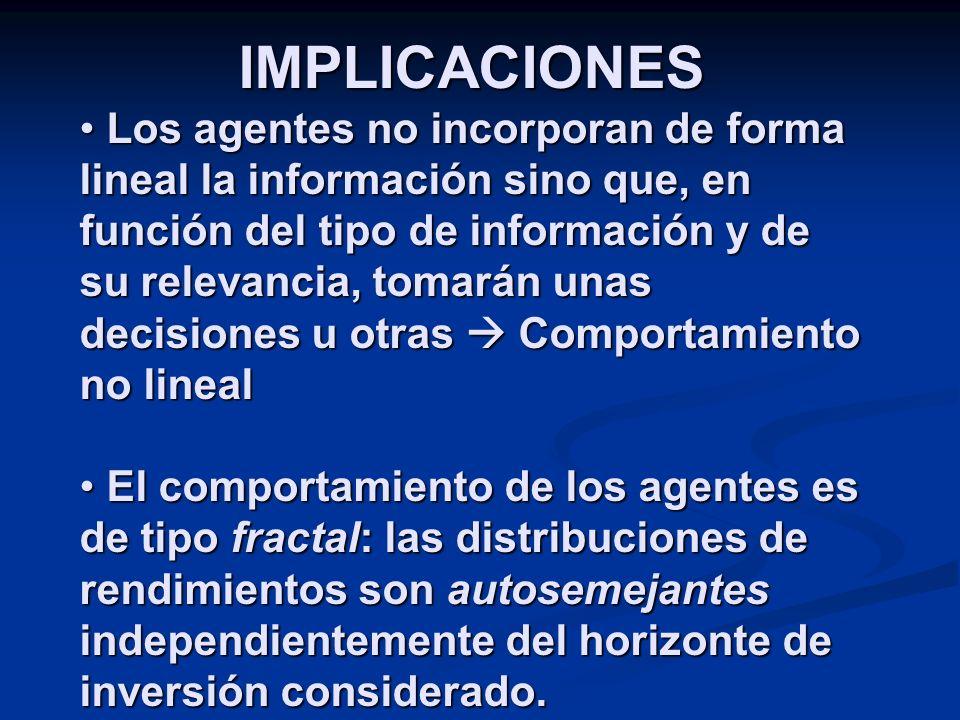 IMPLICACIONES Los agentes no incorporan de forma lineal la información sino que, en función del tipo de información y de su relevancia, tomarán unas d