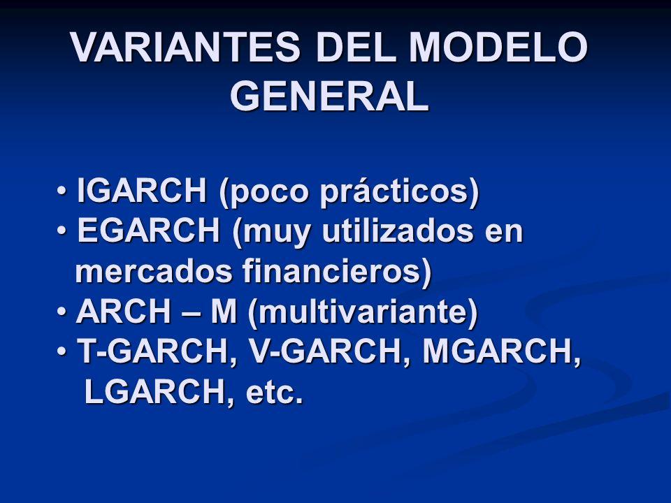 VARIANTES DEL MODELO GENERAL IGARCH (poco prácticos) IGARCH (poco prácticos) EGARCH (muy utilizados en mercados financieros) EGARCH (muy utilizados en