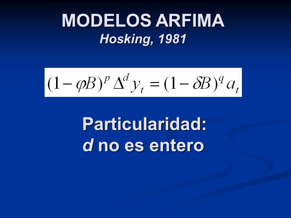 MODELOS ARFIMA Hosking, 1981 Particularidad: d no es entero