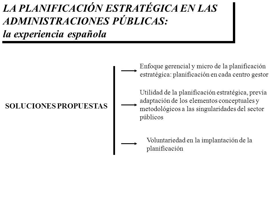 LA PLANIFICACIÓN ESTRATÉGICA EN LAS ADMINISTRACIONES PÚBLICAS: la experiencia española SOLUCIONES PROPUESTAS Enfoque gerencial y micro de la planifica