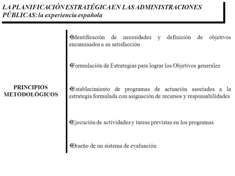 LA PLANIFICACIÓN ESTRATÉGICA EN LAS ADMINISTRACIONES PÚBLICAS: la experiencia española PRINCIPIOS METODOLÓGICOS ßIdentificación de necesidades y defin