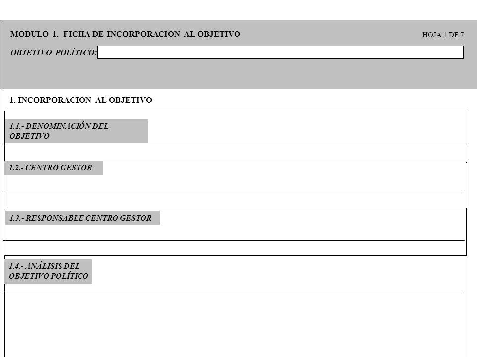 1. INCORPORACIÓN AL OBJETIVO 1.1.- DENOMINACIÓN DEL OBJETIVO OBJETIVO POLÍTICO: MODULO 1. FICHA DE INCORPORACIÓN AL OBJETIVO HOJA 1 DE 7 1.3.- RESPONS