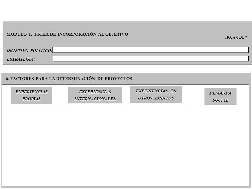 OBJETIVO POLÍTICO: MODULO 1. FICHA DE INCORPORACIÓN AL OBJETIVO HOJA 6 DE 7 6. FACTORES PARA LA DETERMINACIÓN DE PROYECTOS ESTRATEGIA: DEMANDA SOCIAL