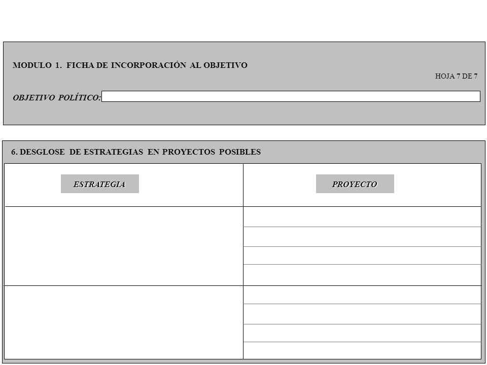 OBJETIVO POLÍTICO: MODULO 1. FICHA DE INCORPORACIÓN AL OBJETIVO HOJA 7 DE 7 6. DESGLOSE DE ESTRATEGIAS EN PROYECTOS POSIBLES PROYECTOESTRATEGIA