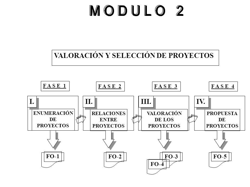 VALORACIÓN Y SELECCIÓN DE PROYECTOS ENUMERACIÓN DE PROYECTOS RELACIONES ENTRE PROYECTOS VALORACIÓN DE LOS PROYECTOS PROPUESTA DE PROYECTOS I. II. III.