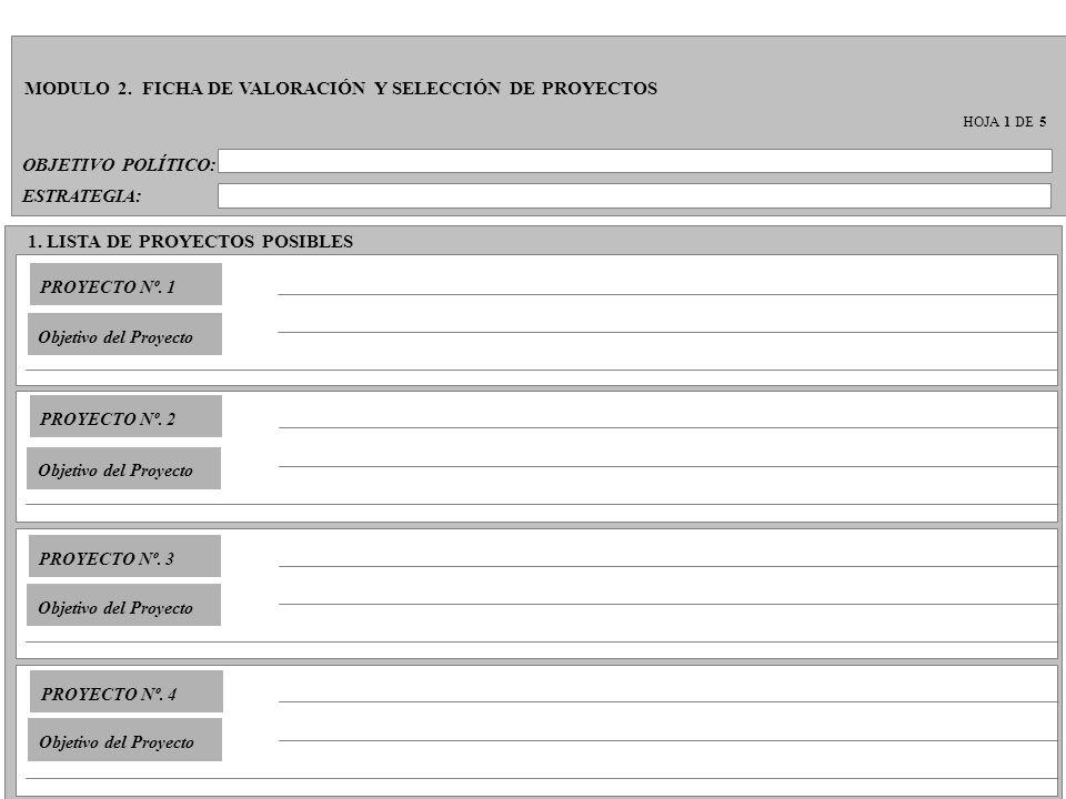 OBJETIVO POLÍTICO: MODULO 2. FICHA DE VALORACIÓN Y SELECCIÓN DE PROYECTOS HOJA 1 DE 5 ESTRATEGIA: 1. LISTA DE PROYECTOS POSIBLES PROYECTO Nº. 1 Objeti