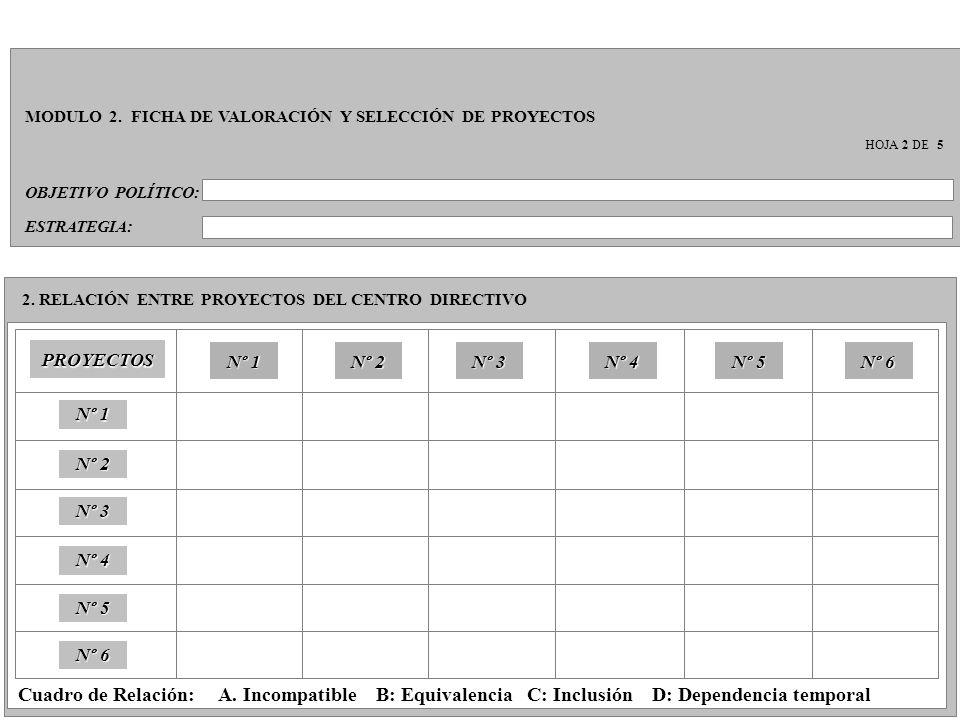 OBJETIVO POLÍTICO: MODULO 2. FICHA DE VALORACIÓN Y SELECCIÓN DE PROYECTOS HOJA 2 DE 5 2. RELACIÓN ENTRE PROYECTOS DEL CENTRO DIRECTIVO PROYECTOS ESTRA