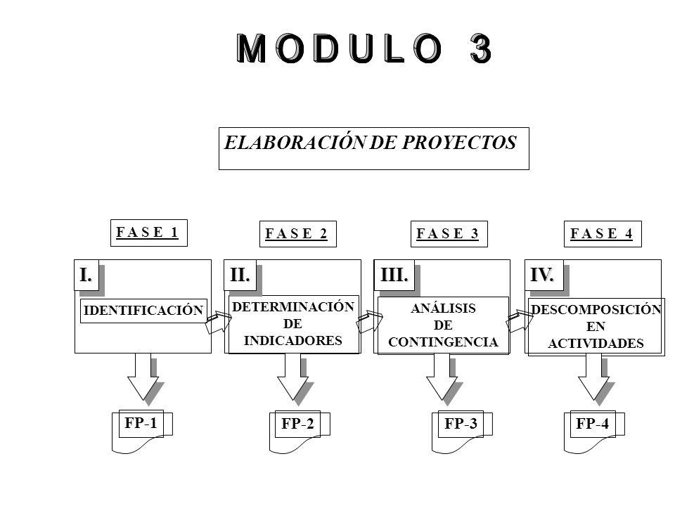 ELABORACIÓN DE PROYECTOS IDENTIFICACIÓN DETERMINACIÓN DE INDICADORES ANÁLISIS DE CONTINGENCIA S DESCOMPOSICIÓN EN ACTIVIDADES I.I.II.II.III.III.IV.IV.