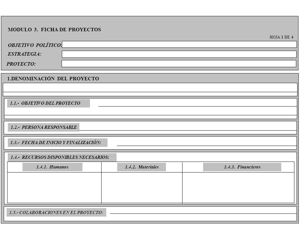 OBJETIVO POLÍTICO: MODULO 3. FICHA DE PROYECTOS HOJA 1 DE 4 ESTRATEGIA: PROYECTO: 1.DENOMINACIÓN DEL PROYECTO 1.1.- OBJETIVO DEL PROYECTO 1.2.- PERSON