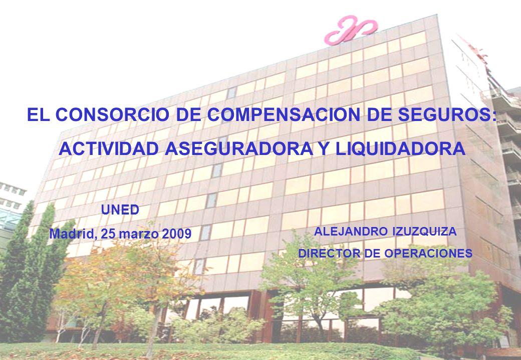 UNED Madrid, 25 marzo 2009 EL CONSORCIO DE COMPENSACION DE SEGUROS: ACTIVIDAD ASEGURADORA Y LIQUIDADORA ALEJANDRO IZUZQUIZA DIRECTOR DE OPERACIONES