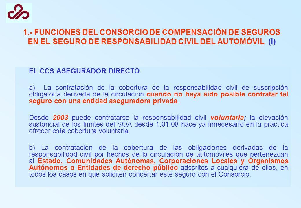 1.- FUNCIONES DEL CONSORCIO DE COMPENSACIÓN DE SEGUROS EN EL SEGURO DE RESPONSABILIDAD CIVIL DEL AUTOMÓVIL (I) EL CCS ASEGURADOR DIRECTO a) La contrat