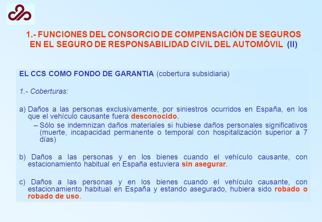 1.- FUNCIONES DEL CONSORCIO DE COMPENSACIÓN DE SEGUROS EN EL SEGURO DE RESPONSABILIDAD CIVIL DEL AUTOMÓVIL (II) EL CCS COMO FONDO DE GARANTIA (cobertu