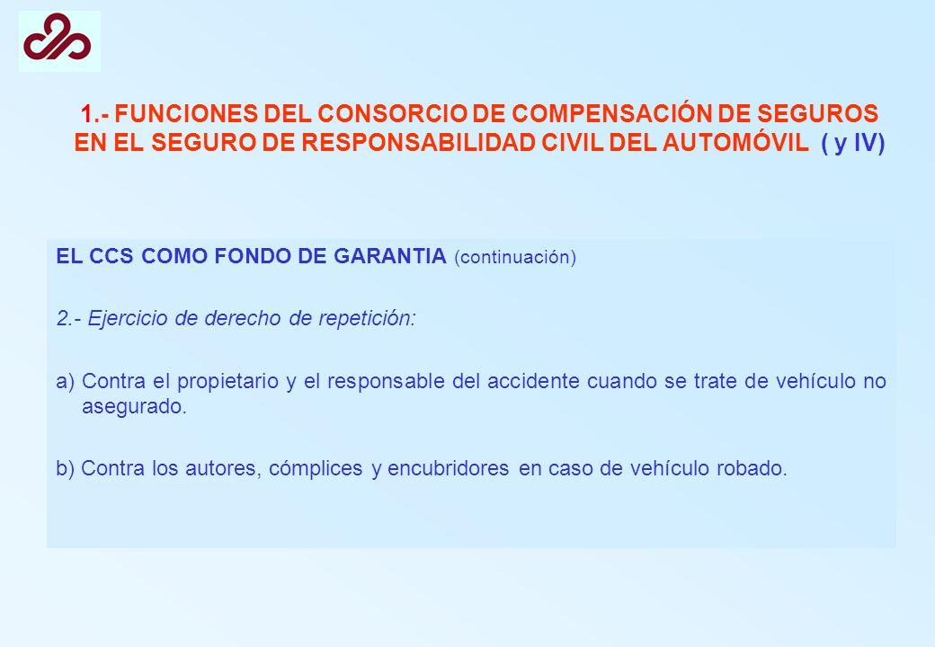 1.- FUNCIONES DEL CONSORCIO DE COMPENSACIÓN DE SEGUROS EN EL SEGURO DE RESPONSABILIDAD CIVIL DEL AUTOMÓVIL ( y IV) EL CCS COMO FONDO DE GARANTIA (cont