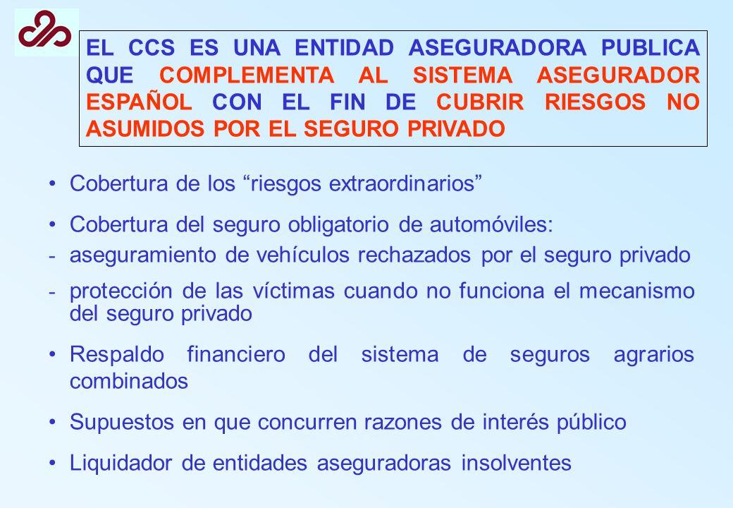 EL CCS ES UNA ENTIDAD ASEGURADORA PUBLICA QUE COMPLEMENTA AL SISTEMA ASEGURADOR ESPAÑOL CON EL FIN DE CUBRIR RIESGOS NO ASUMIDOS POR EL SEGURO PRIVADO