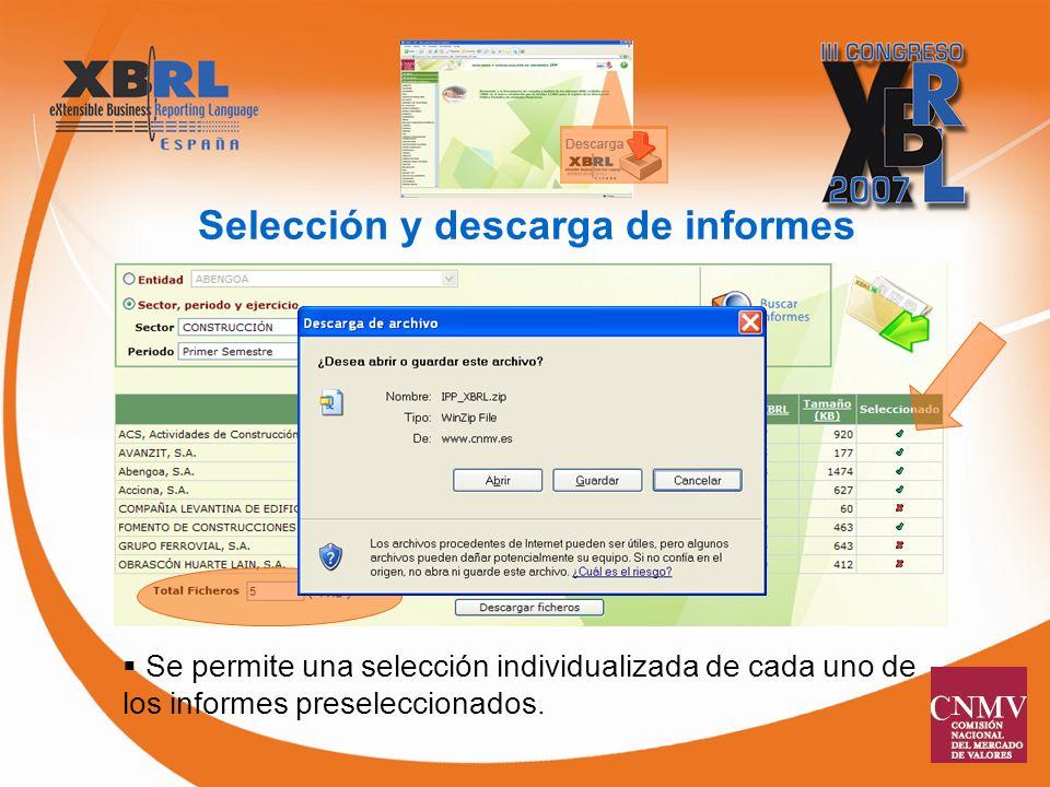 Selección y descarga de informes Se permite una selección individualizada de cada uno de los informes preseleccionados.