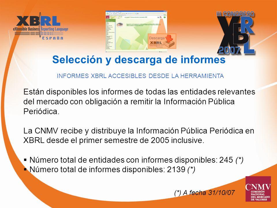 INFORMES XBRL ACCESIBLES DESDE LA HERRAMIENTA Están disponibles los informes de todas las entidades relevantes del mercado con obligación a remitir la Información Pública Periódica.