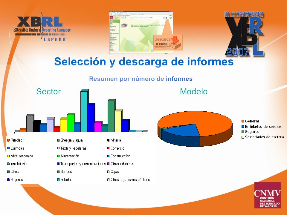 Resumen por número de informes Selección y descarga de informes SectorModelo