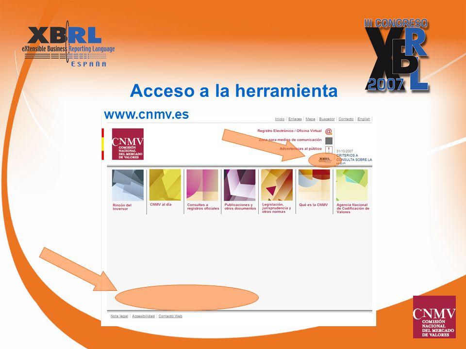 Acceso a la herramienta www.cnmv.es